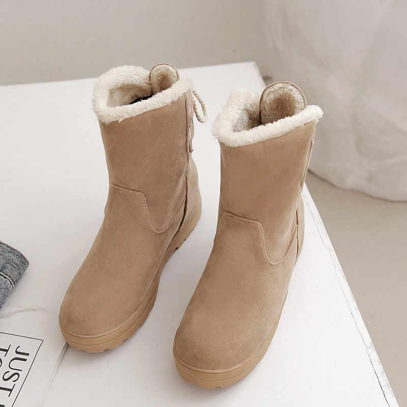 Asumer artı boyutu 34-48 moda yarım çizmeler kadın yuvarlak ayak kayma med topuklu bayan botları akın kış gösterisi çizmeler kadın 2020