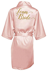 Image 5 - ほこりピンク花嫁ローブサテンローブ女性ブライダルパジャマ結婚式のウエディングギフトの母の姉妹の花嫁新郎ローブ