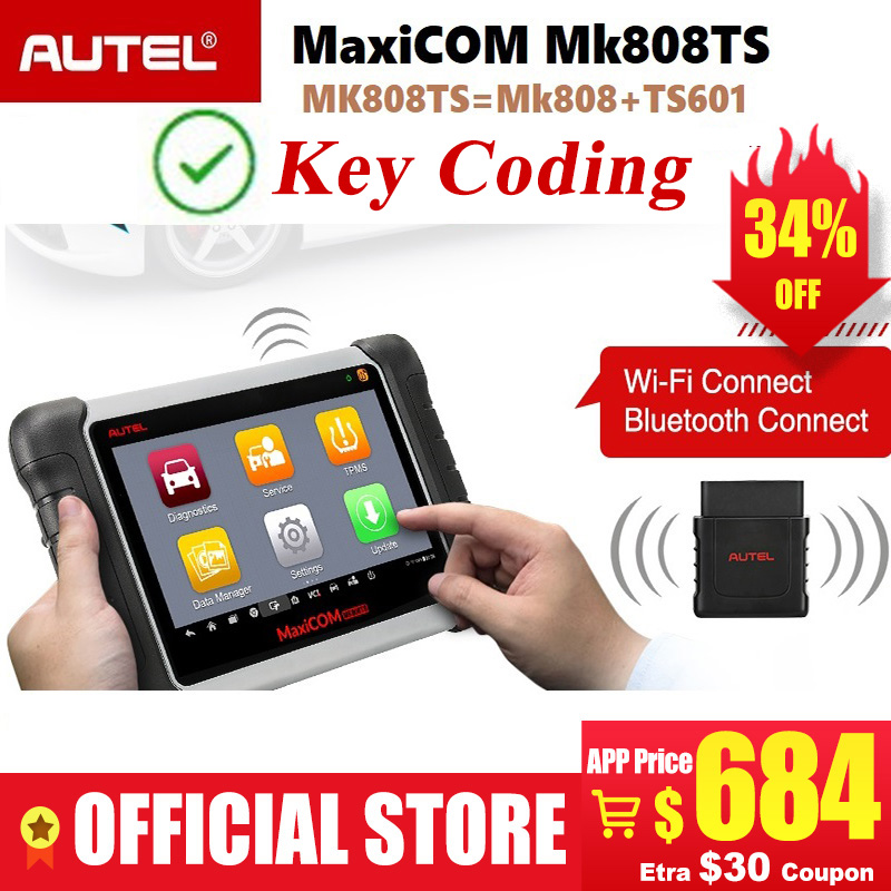 Image 1 - Autel MaxiCOM MK808TS Professional OBD2 Bluetooth Car Diagnostic Scan Tool OBD 2 Scanner Programing TPMS Sensor PK MK808 MK808BT-in Code Readers & Scan Tools from Automobiles & Motorcycles