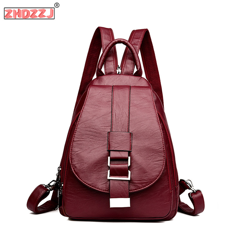 2019 New Ladies High Quality Leather Retro Solid Color Backpack Fashion Ladies Shoulder Bag College Wind Girl Travel Backpack