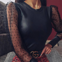 Round neck bubble sleeve polka dot dress female autumn net red long sleeve pullover jumpsuit