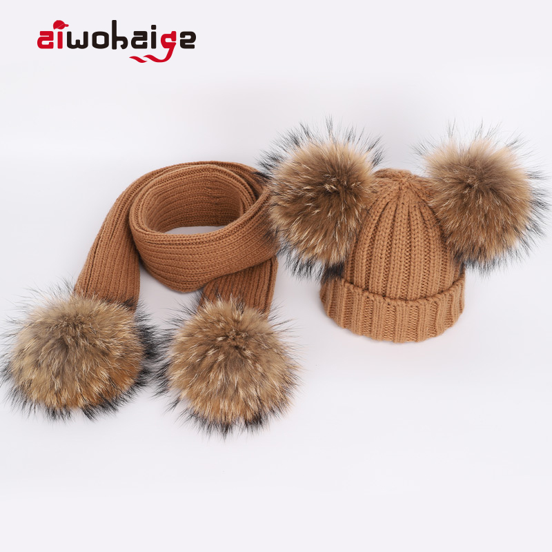 New Cute Children's Raccoon Fur Pom Poms Knit Beanie Hat Scarf Boy Girl Winter Thicken Hedging Cap Scarves Soft Ski Baby Kids