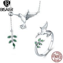 BISAER Insieme Dei Monili 925 Sterling Silver Bird Colibrì di Auguri Collare Anel Set di Gioielli Per Le Donne di Modo Dei Monili Degli Orecchini