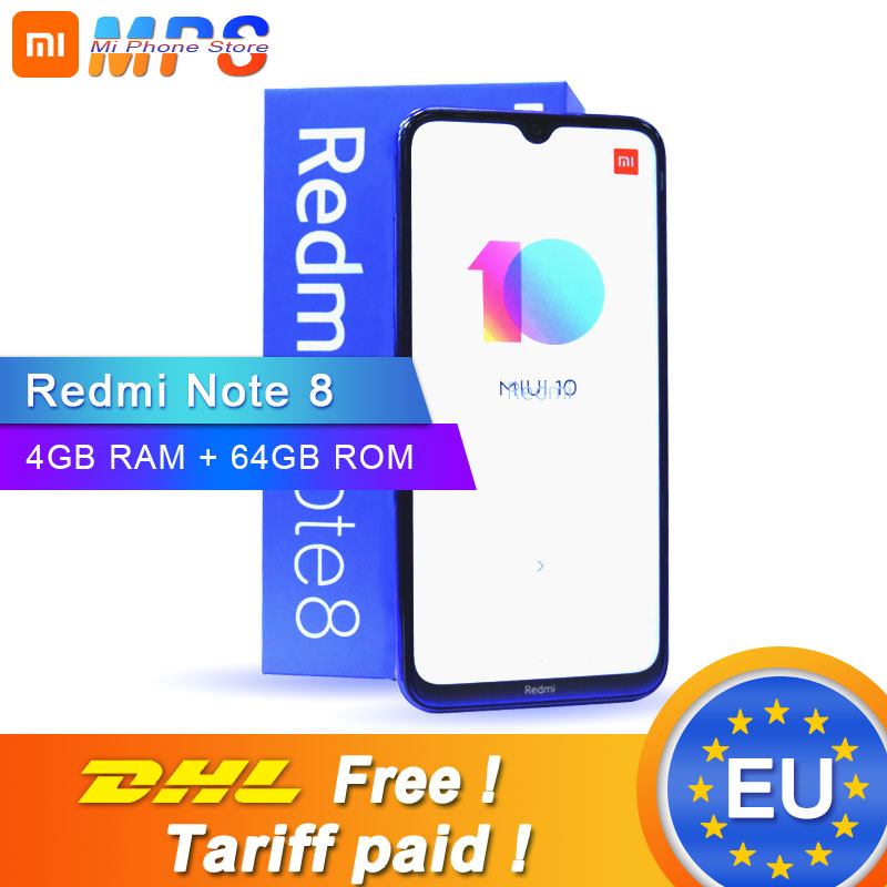 "Original Xiaomi Redmi Note 8 4GB 64GB Smartphone Snapdragon 665 Octa Core 6.3"" 48MP Quad Rear Camera 4000mAh 18W Fast Charger"