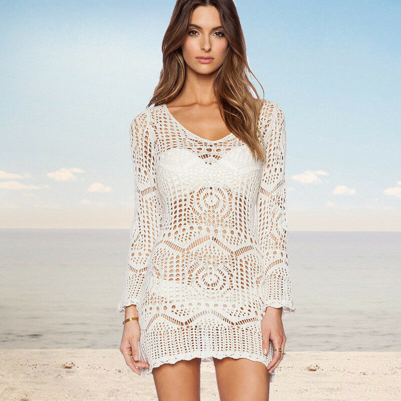 Women Lace Beach Cover Up Beach Dress Tunic Hollow Knit Swimwear White Crochet Beachwear Long Sleeve Bathing Sundress