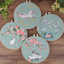 Chinese Crane Flower Embroidery Kit with Hoop Needlework Kit