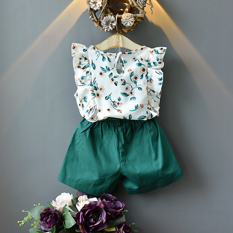 2020 New Summer Girls Green Cute Sleeveless Children's Floral Children's Clothing Girls Tops + Shorts 2 Sets Of Free Shipping 4