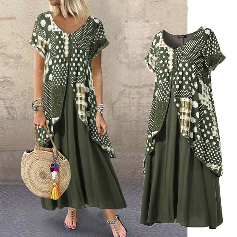 2020 ZANZEA  Maxi Long Dress Autumn Summer Dress Women Polka Dot Print Patchwork Pleated Plus Size Sexy V Neck Vestidos Sundress 4