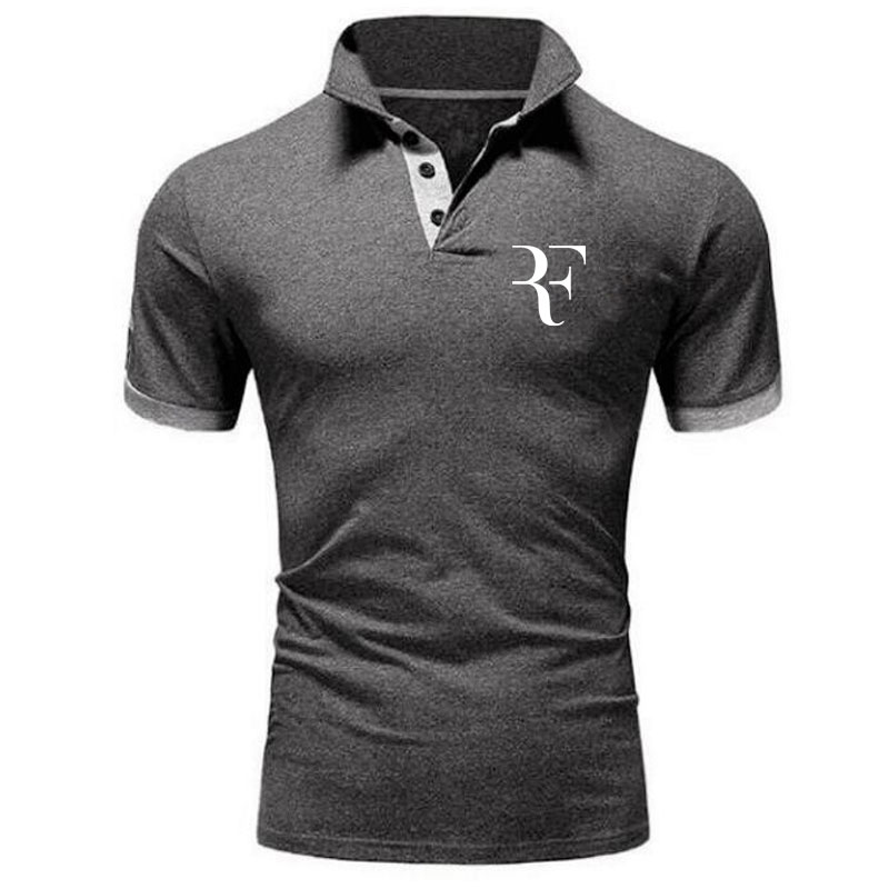 Business Men Casual Polo Shirt Roger Federer Brand Clothing Male Summer Print Polo Shirt Cotton Men Solid Polo Homme Men Jersey