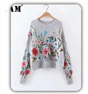 [EAM] black plaid big size Knitting Cardigan Sweater Loose Fit V-Neck Long Sleeve Women New Fashion Autumn Winter 2019 1K356 45