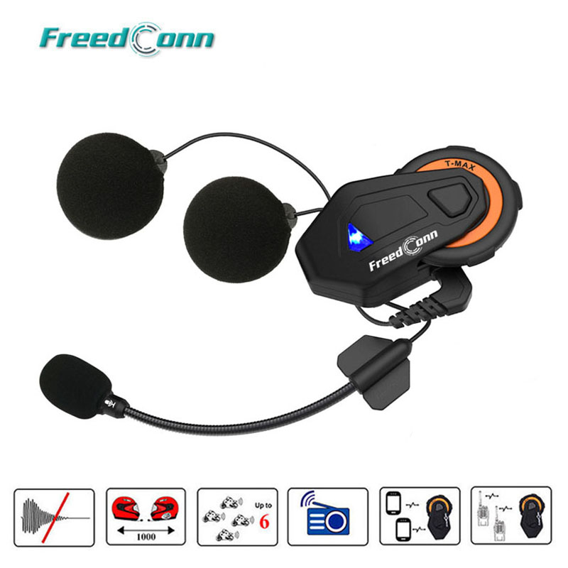 Freedconn T-max Motorcycle Intercom Helmet Bluetooth Headset 6 Riders Group Talking FM Radio Bluetooth 4.1