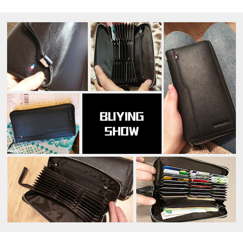 Image 4 - BISON DENIM Genuine leather RFID Blocking Wallet Zipper Coin Pocket Long Purse Passport Cover For Men Card Holder Purse W8226Wallets   -