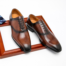 Shoes Dress Wingtips Italian Oxfords Brogues Pointed-Toe Wedding-Party Phenkang Men Genuine