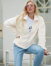 LOOZYKIT Women Winter Faux Fur Warm Stand Collar Long Sleeve Tops Loose Soft  Lady Basic Zipper Pockets Cardigan Jackets