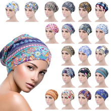 Female Print Cotton Turban Chemo Hat Muslim Double Sided Satin Beanie Head Scarf Hijab Femme Mussulman Turbans Headbands