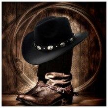 Chapéu de vaqueiro ocidental de lã para mulher homem enrole a borda cowgirl jazz boné com chapéu de couro fedora toca sombrero