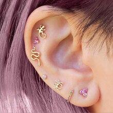 Boucles d'oreilles en argent Sterling 925, perles d'animaux mignons, minimalistes, petits, jolis, couleur or, 5A, CZ, Piercing, vente en gros