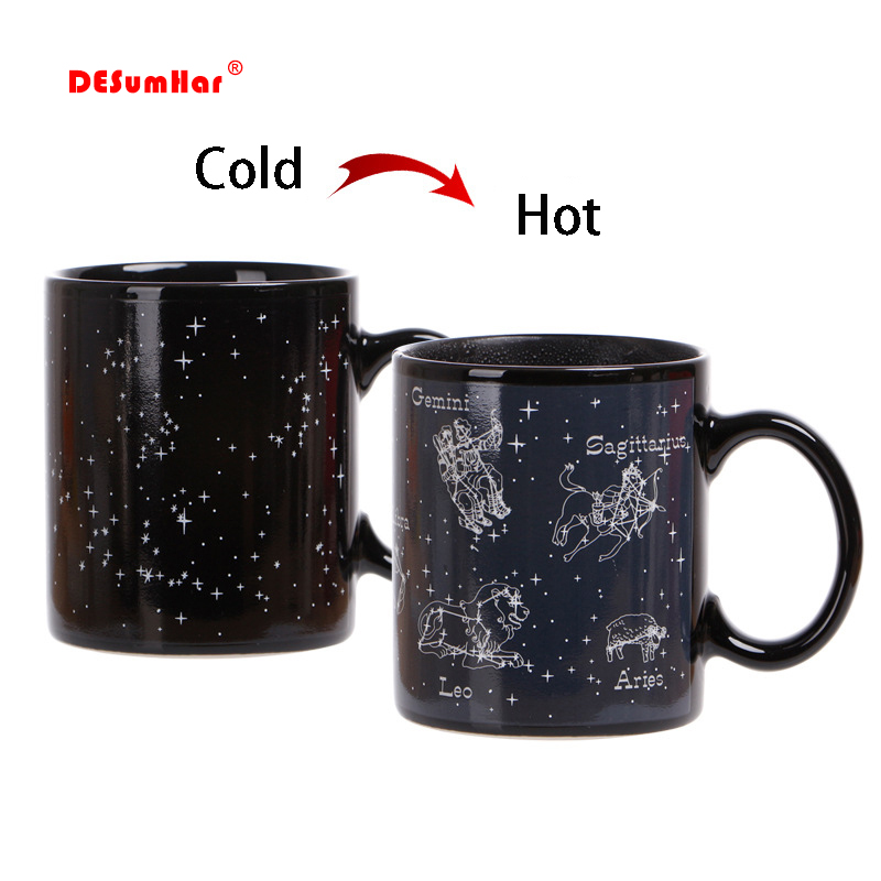 New 12 Constellations Discoloration Mugs,personalized Shape Office Coffee Milk Cup,Color Change Mug Creative Cups Surprised Gift