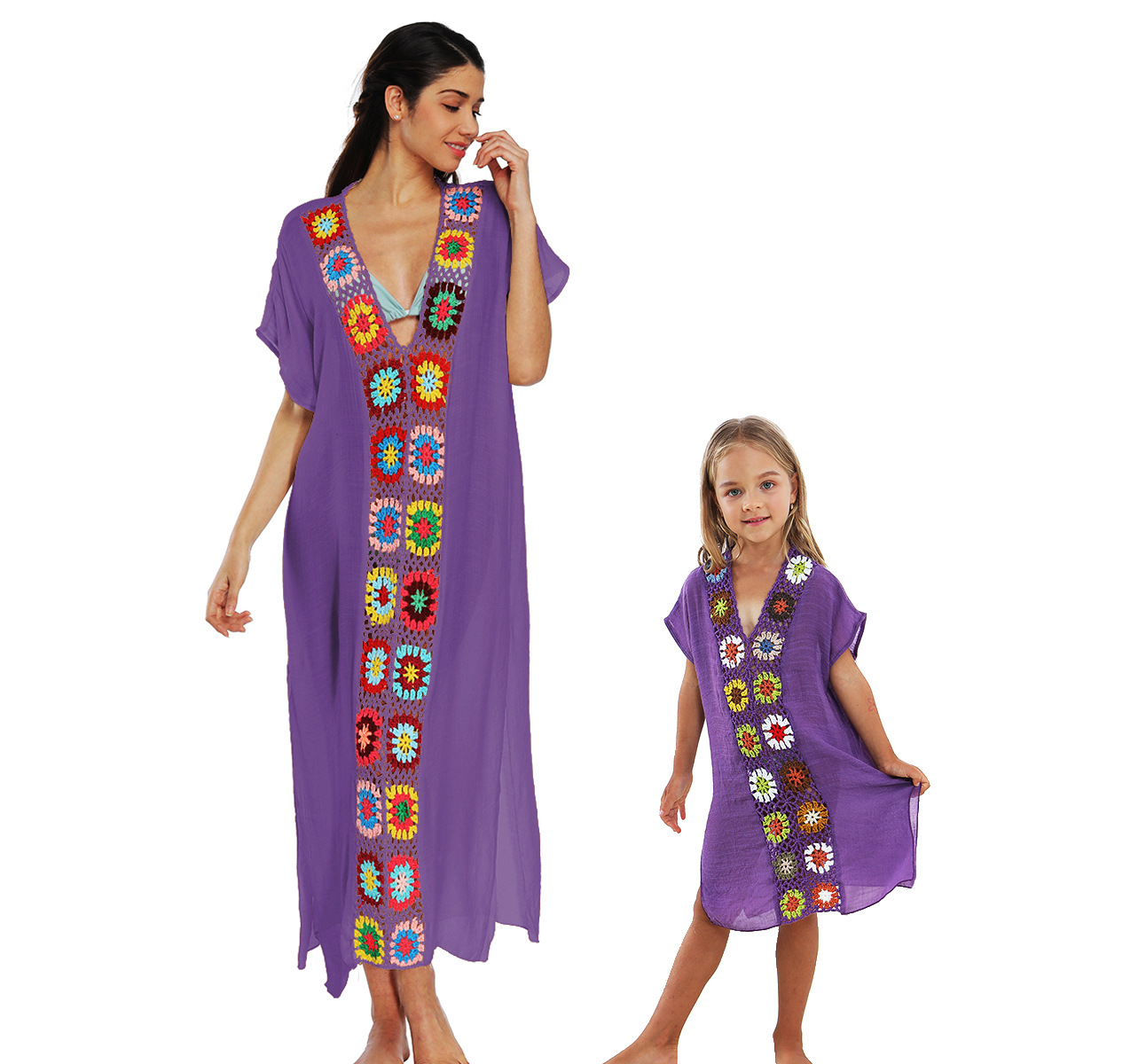 <font><b>AliExpress</b></font> Parent-child Matching Outfit Crochet Flower Joint Long Loose-Fit Slit CHILDREN'S <font><b>Dress</b></font> A1900 image