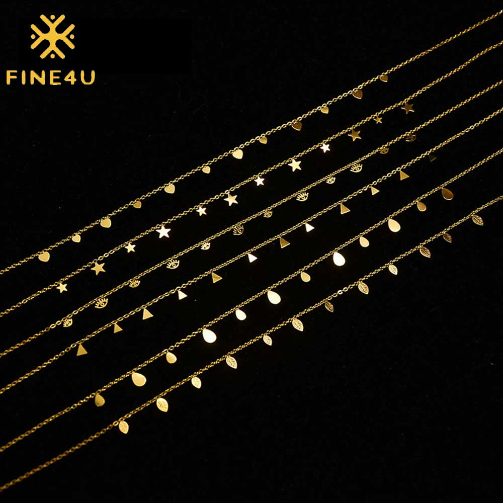 FINE4U Womens Simple Delicate Heart Gold Plated/Rose Gold/Silver Plated Pendant Handmade Star Chokers Necklaces N01888