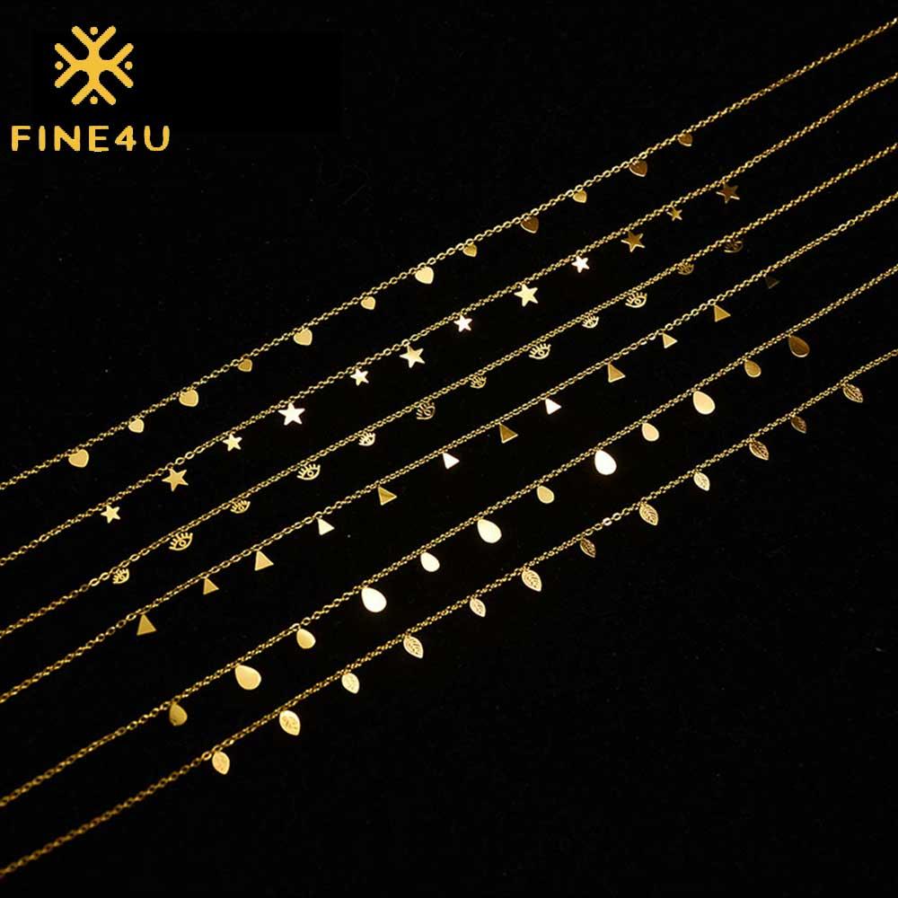 Fine4u womens coração delicado simples banhado a ouro/rosa ouro/prata banhado pingente artesanal estrela gargantilhas colares n01888