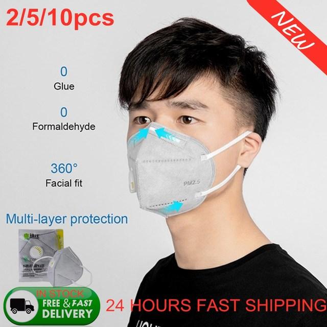 50pcs KN95 Valve Mask 5 Layer Flu Anti Infection N95 Protective Masks ffp2 Respirator PM2.5 Safety Mask