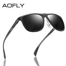 AOFLY marka 2020 alüminyum magnezyum polarize erkek güneş gözlüğü Vintage kare Metal çerçeve erkek güneş gözlüğü sürüş zonnebril heren