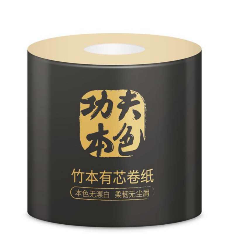 Natural Bamboo Pulp Paper Cored Disposable Roll Paper 10 Rolls Of Household Toilet Paper Towels