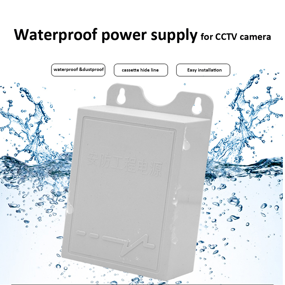 12V 2A Outdoor Waterproof Power Supply AC/DC Power Adapter for Security System Rain Outside Power