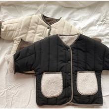 Коллекция года, осенне-зимнее Детское пальто из овечьей шерсти двустороннее не носящее пальто Хлопковое платье с круглым воротником для маленьких мальчиков и девочек