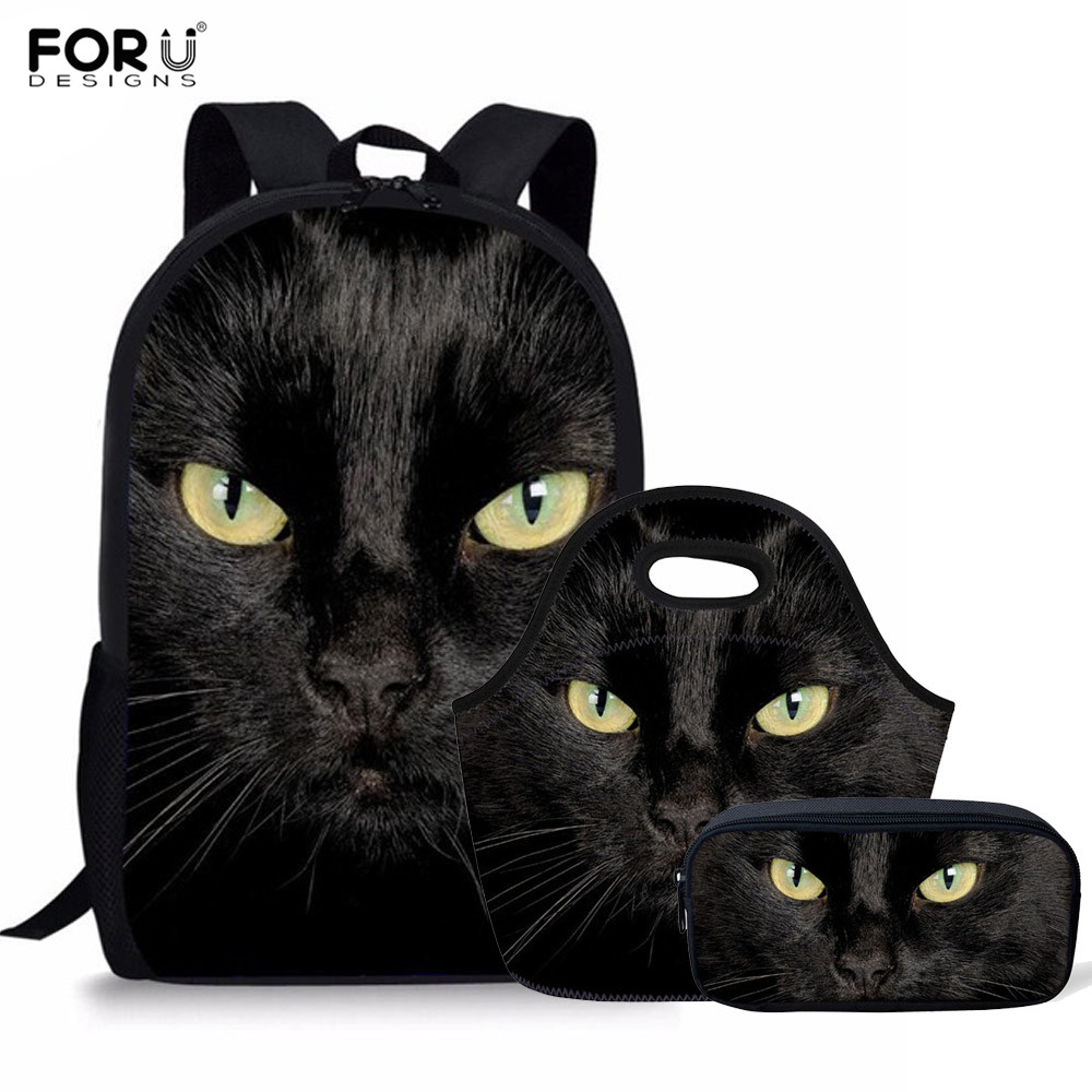 FORUDESIGNS Children School Bags For Girls Black Cat Printing Orthopedic Backpack Set Primary Schoolbag Mochila Bookbag Satchel