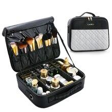 Bolsa para cosméticos multifunción de cuero PU, gran capacidad, nueva bolsa de maquillaje de viaje