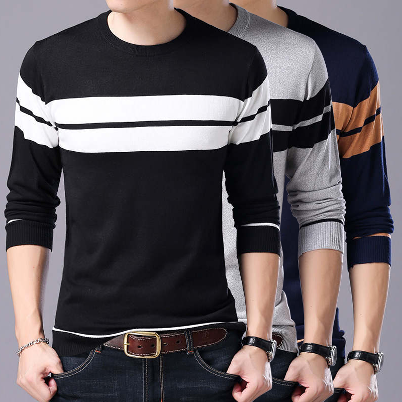 Men Sweaters 2020 Brand Casual Autumn Winter Warm Knitted Striped  Sweater Men Solid Color O-Neck Pull Homme Cotton Pullover Men