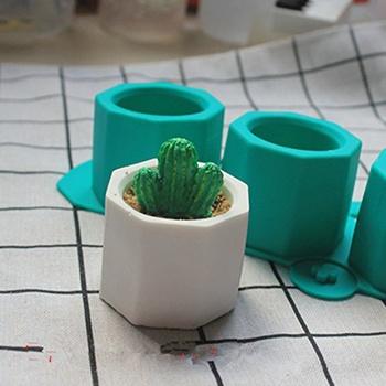 Formy betonowe silikonowe kaktus doniczka glina ceramiczna Craft Casting betonowa forma do kubka dostarcza losowy kolor nowość tanie i dobre opinie clay mold Silicone