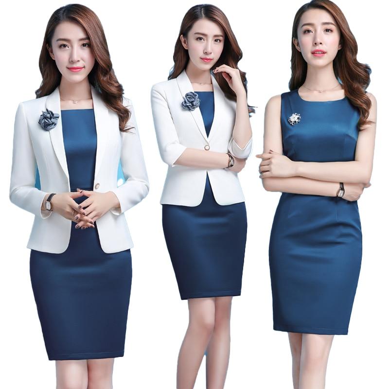 Formal Women Blazer Dresses With Jacket Women's Dress Suit Set Office Wear Work For Ladies Evening Elegant Costumes Plus Size OL