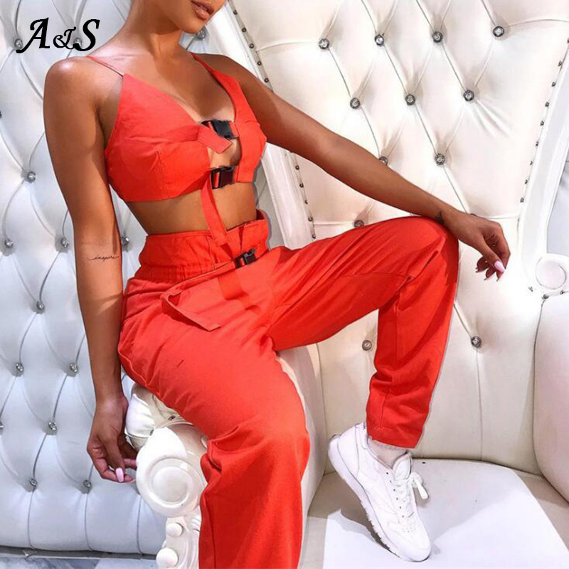 Sexy <font><b>2</b></font> Stück <font><b>Set</b></font> Frauen Sommer <font><b>2</b></font> Stück <font><b>Sets</b></font> Sexy Schnalle Bralette Tank Hosen Damen Orange Verband Cropped Top Strand trainingsanzug image