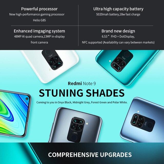"Redmi Note 9 Global Version 3GB+64GB Xiaomi SmartPhone MTK Helio G85 Octa Core 48MP Quad Rear Camera 6.53"" 5020mAh 2"