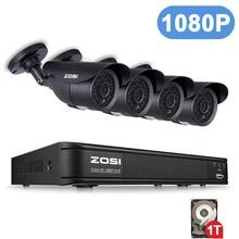 ZOSI 1080P 8CH 2MP CVBS AHD TVI CVI نظام الدائرة التلفزيونية المغلقة في الهواء الطلق للرؤية الليلية كاميرا فيديو نظام الأمن مراقبة DVR عدة فيديكام