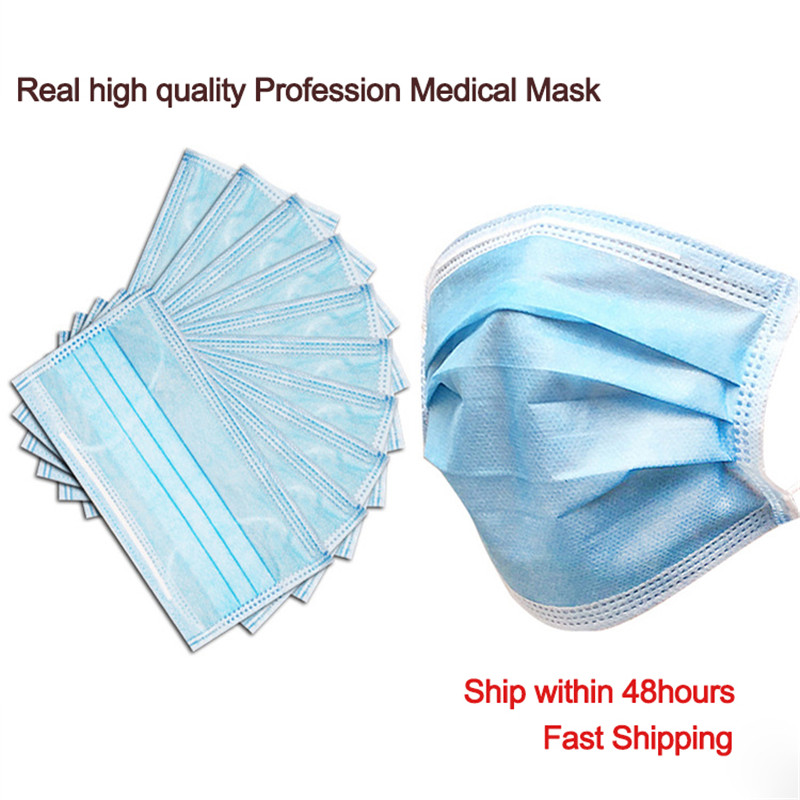 50 Pcs/Box 3 Layer Non-woven Dust Mask Thickened Disposable Mouth Mask Features As KF94 FFP2
