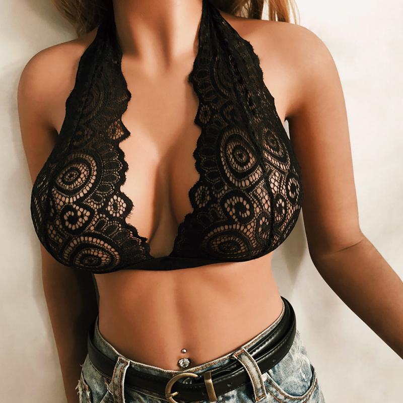 Lace Women Through Bra V Sexy Top For Woman Black Bras Erotic Tops Womens Bandage Belt