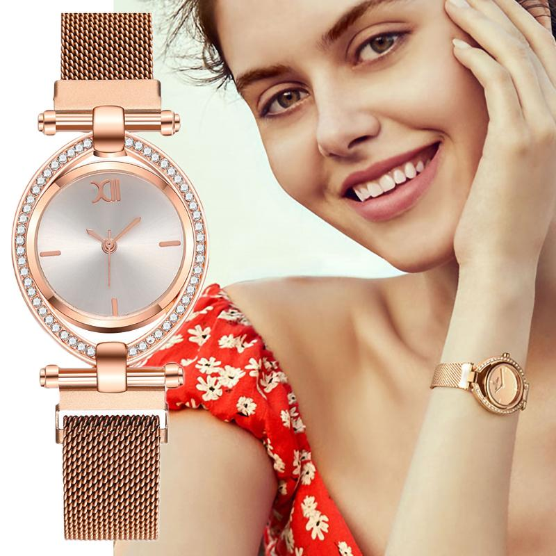Luxury Fashion Magnetic Buckle Watches Women Qualities Diamond Spin Quartz Watch Stainless Steel Mesh Strap Ladies Wristwatches