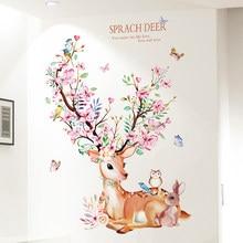 [Shijuekongjian] cerf lapin animaux Stickers muraux bricolage fleurs Stickers muraux pour maison enfants chambres bébé chambre pépinière décoration