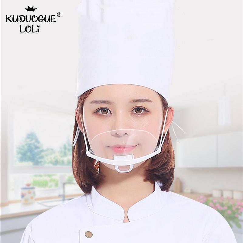 50 Pieces Mask Transparent Against Droplets Catering Food Hygiene Plastic Kitchen Restaurant Spit Saliva Chef Mask Men Women