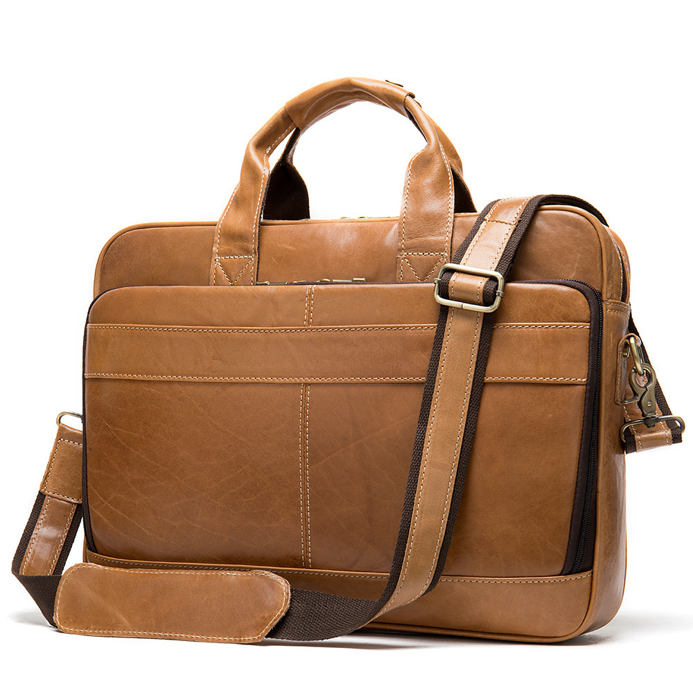 Genuine Leather Business Affairs 15.6 Inch Computer Work Office Bags For Men Handbag More Function Briefcase Leisure Time Male