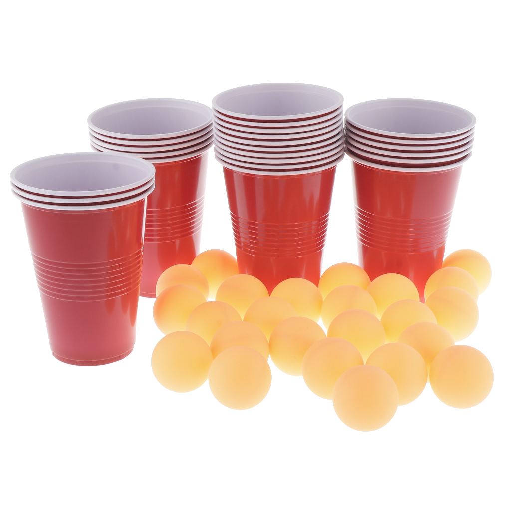 Beer Ping-pong Game Set With 24 Red Cups & Yellow Ping Pong Balls For Christmas, Holiday, Or College Party