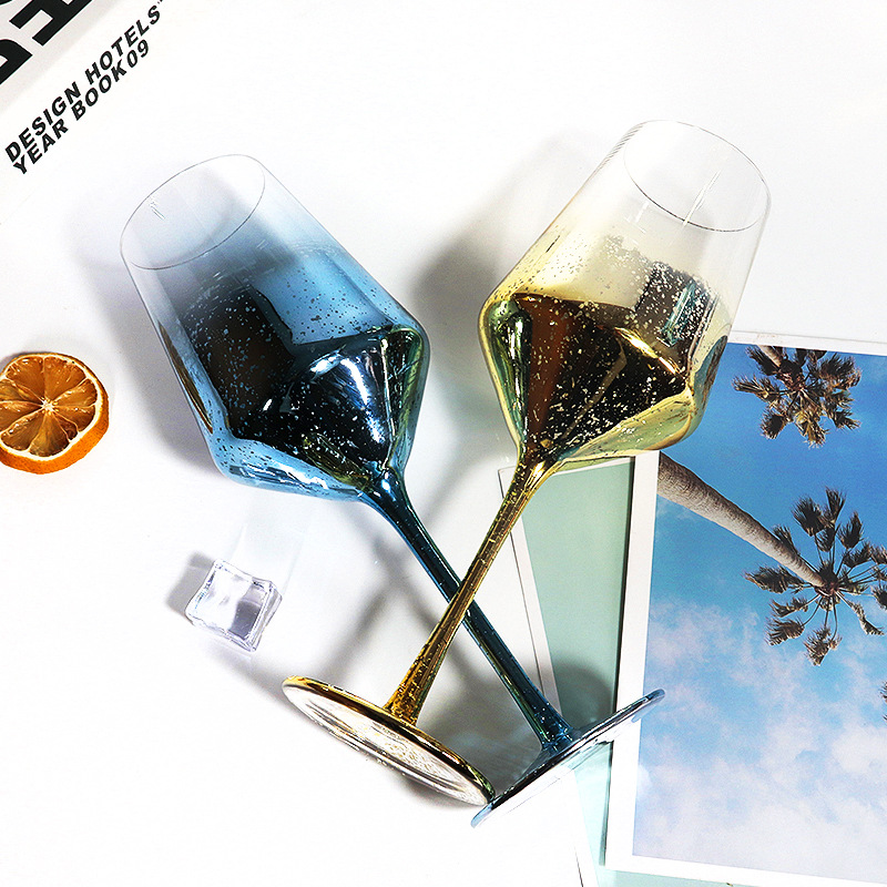 Champagne Glass Wine Glass Can Be Customized Starry Sky Series High-foot Ins Color Plating Lead-free Glass Wine Glass Mug