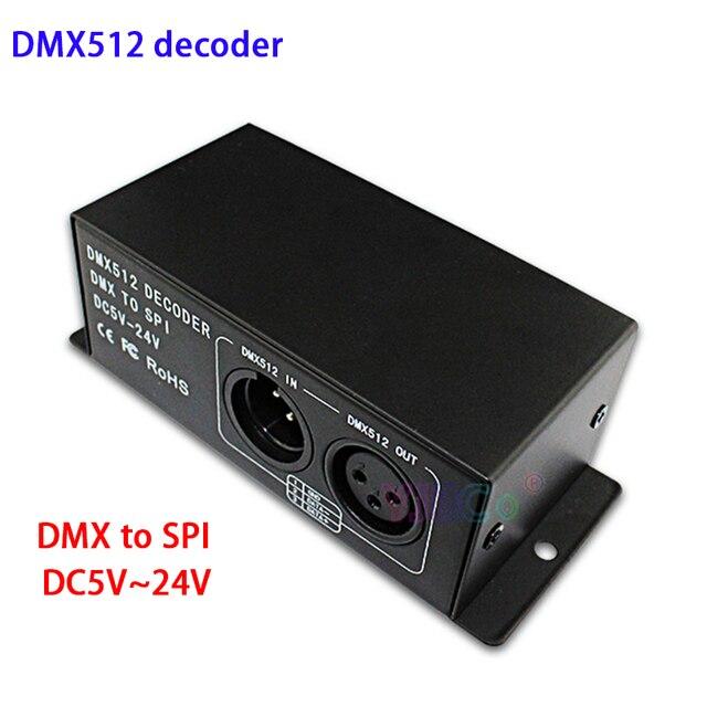 Dc 5 v 〜 24 v フルカラーの dmx 512 デコーダ led ストリップ調光器 dmx spi led モジュールコントローラサポート WS2811 WS2812 WS2801 6803 ic