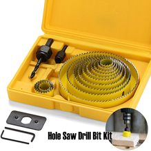 12- 18pcs Hole Saw Drill Bit Kit Wood Sheet Metal Cutter Mandrels Saws цена и фото