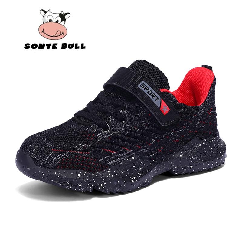 Anne ve Çocuk'ten Tenis Ayakk.'de Yeni Uçan Dokuma Erkek Kız Ayakkabı Moda Nefes Rahat Çocuk Ayakkabı Yumuşak kaymaz Açık Çocuklar Sneakers Boyutu 28  39 title=