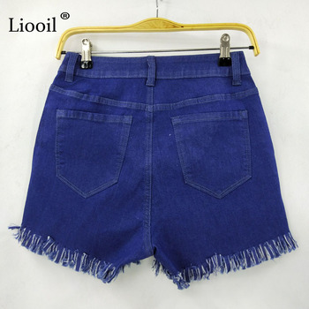 Liooil Black White Red Denim Shorts 2020 Cotton High Waisted Button Pockets Skinny Women Shorts Summer Sexy Jean Shorts 10